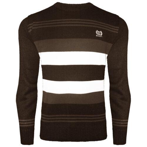 Maglione Lavorato a Maglia a righe da uomo girocollo Maglieria Sweater Manica Lunga Pullover Tops