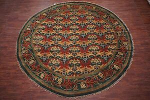 Hand-Knotted-14X14-Round-William-Morris-Art-amp-Craft-Signed-Wool-Area-Rug-Carpet