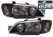 2002-2003 Mitsubishi Lancer ES OZ Rally Black Head Lights OE Style DEPO PAIR