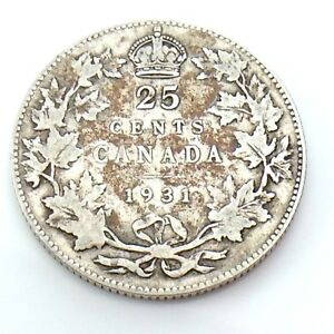 1931-Canada-25-Twenty-Five-Cent-Quarter-Canadian-Silver-Circulated-Coin-G920