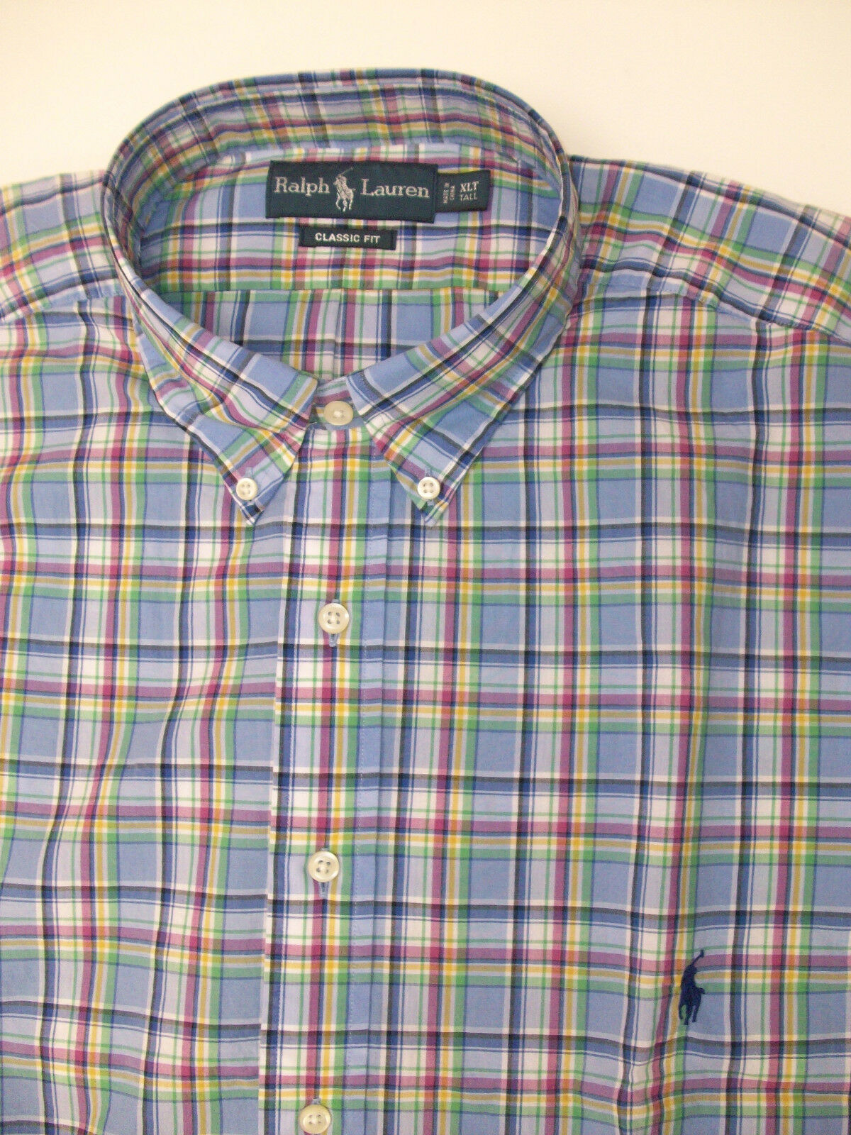 Polo Ralph Lauren LS Classic Fit Plaid Poplin Shirt -98 Purple bluee  Pony NWT
