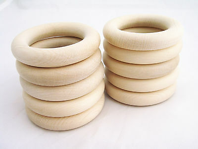 SALE - Set of 10 Organic Wooden Teething Rings - 60mm. with Production Defects