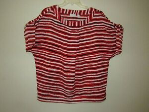 New-York-amp-Company-Womens-XL-Red-Black-White-Blouse-Short-Cuff-Sleeves-Light