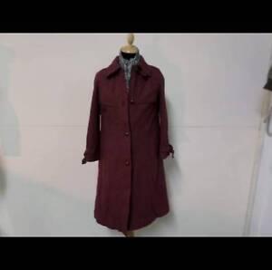 Women-VINTAGE-1980-039-S-WINTER-Wool-COAT-BURGUNDY-10-12-32-34-034-Grade-A-U621