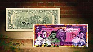 Astronauts Frugal Star Trek Purple Moon Landing Astronauts By Rency Pop Art On $2 Bill #/70 Banksy