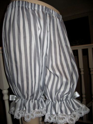 NEW  Lolita Grey White Stripes Lace Sissy Long Bloomers Pantaloons Lagenlook