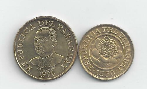 1950 1 CENTIMO /& 1996 10 GUARANIES 2 DIFFERENT COINS from PARAGUAY