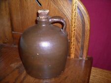 ANTIQUE MOONSHINE WHISKEY CROCK JUG STONEWARE BROWN SWIRL GLAZE w/ CORK