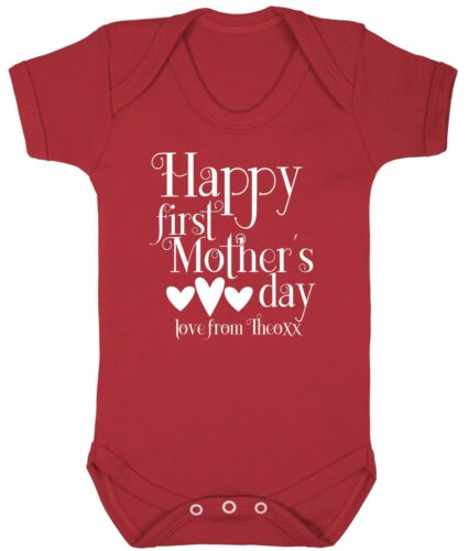 HAPPY FIRST MOTHER/'S DAY LOVE FROM CUSTOM NAME PERSONALISED BABYGROW