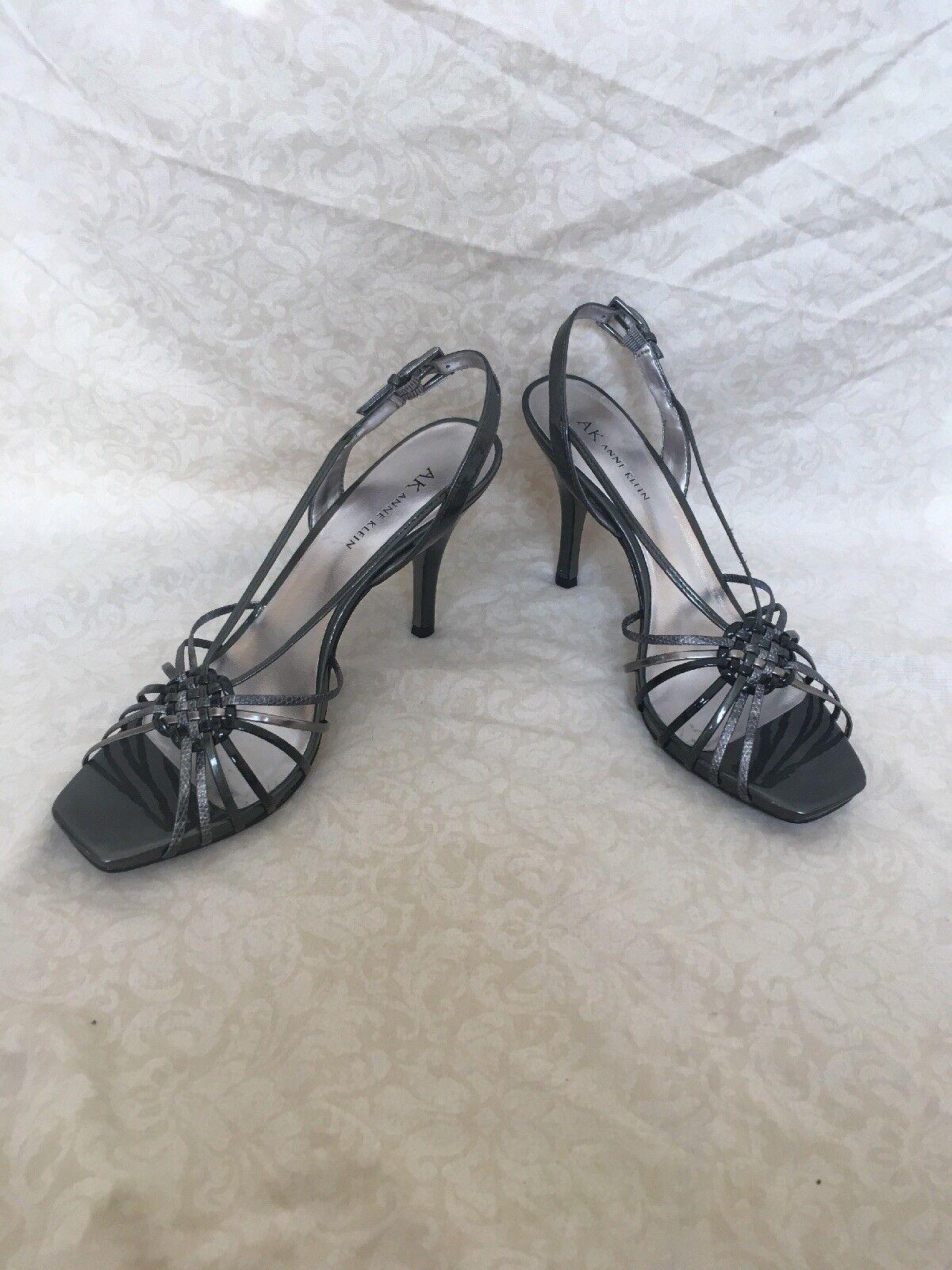 Anne Klein Akaplik Dark Silver Mul Patent Leder, Damens's Schuhes, Größe 9.5M