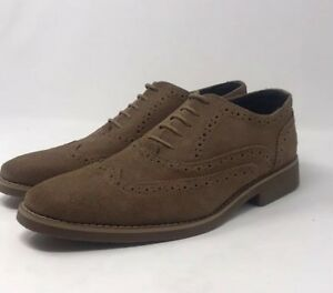 Joseph-Abboud-Collection-Men-039-s-Camel-Brown-Suede-Wingtip-Shoes-Size-8-New
