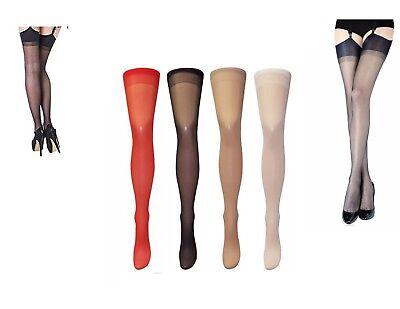 Plain Sheer Stockings  Sizes S XXL Various Colours 15 Denier new