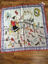 MOSCHINO CHEAP & CHIC OLIVE OYL SHOES PRINT SQUARE SCARF 34 x 34