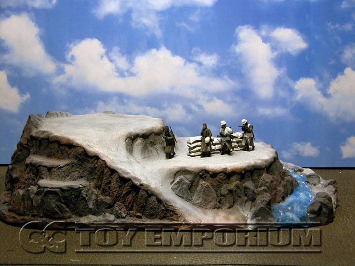 1:32 Pintado Personalizado & Plataforma de montaña desgastado de lujo de Invierno Conjunto Diorama