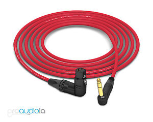 Mogami 2534 Quad Cable | Neutrik Gold 90º TRS to 90º XLR-F | Red 40 Feet 40'