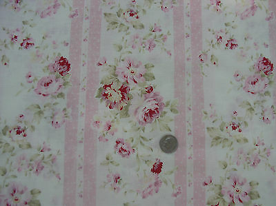 Durham Quilt Sweet Raspberry and Pink Roses Stripes, Dots on Off White BTY