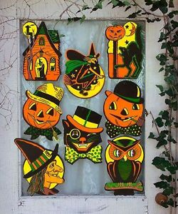 8 Vintage Retro Styled Beistle Repro Halloween Decorations Die Cut