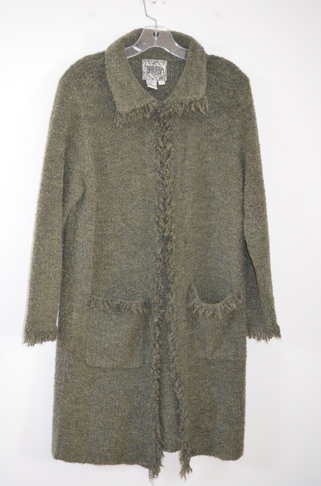 Anthropologie Curio Green Fringed 71% Acrylic Long Cardigan Sweater Size L