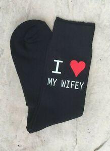 Personalised Love Heart Socks Birthday Boyfriend Husband Gift Fathers Day Print
