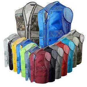 Mens-utility-multi-pocket-mesh-fishing-shooting-hiking-vests-hunting-waistcoat