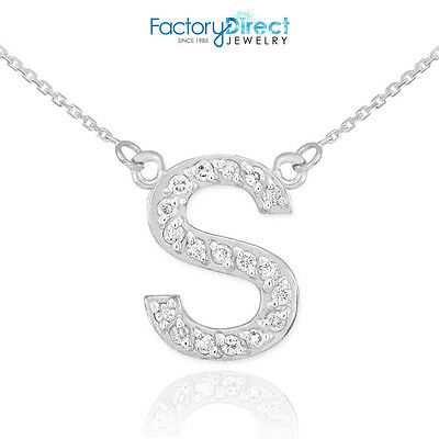 "14k White Gold Letter ""S"" Diamond Initial Necklace"