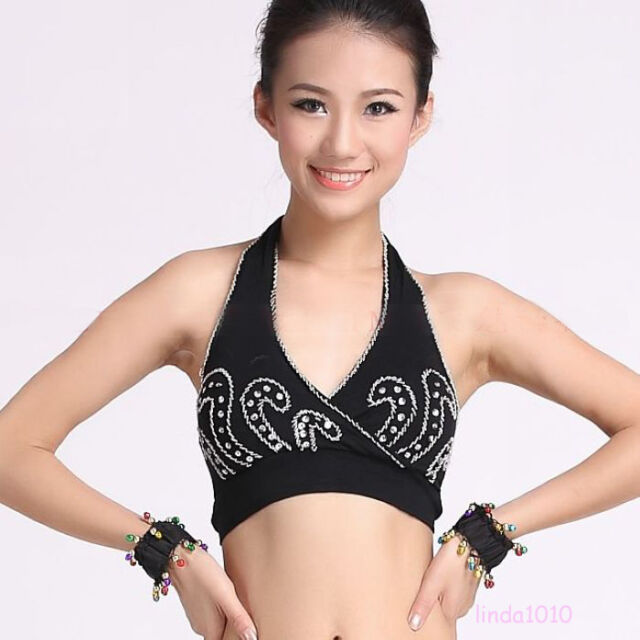 New belly dance costume Bead Embroider Vest Blouse Top Bra 10 Colors