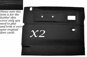 BLACK LEATHER 2X FRONT DOOR CARDS SKIN COVERS FITS LAND ROVER DEFENDER 90//110