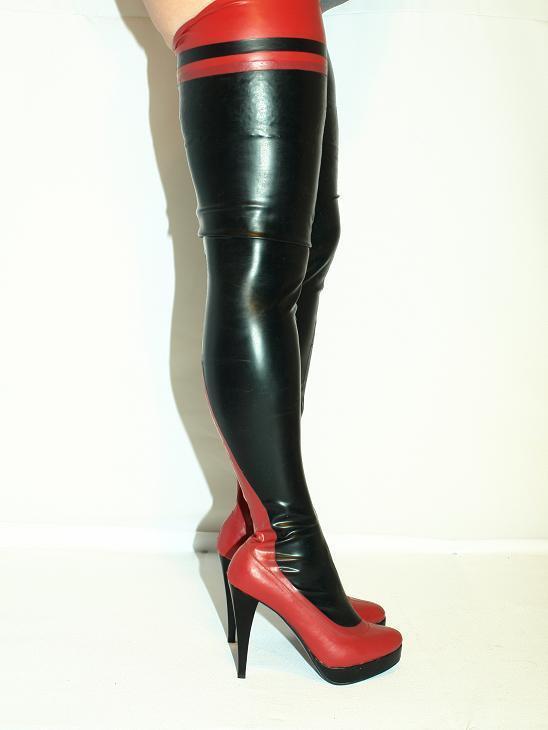 promozioni di squadra nero-RED LATEX RUBBER RUBBER RUBBER  HIGHS stivali  Dimensione 5-16 HEELS-5,5 - PRODUCER- POLAND  nuovi prodotti novità