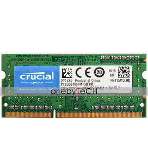 Crucial-2GB-DDR3-1066MHz-PC3-8500-204Pin-SODIMM-Laptop-Notebook-Memory-1-5v-CL7