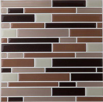 Achim Home Furnishings 12 SHEETS  Piano Mosaic Magic Gel Wall Tile, Coffee/Beige