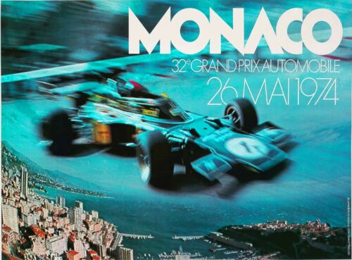 1974 Monaco Grand Prix Automobile Race Car Vintage Travel Art Poster Print