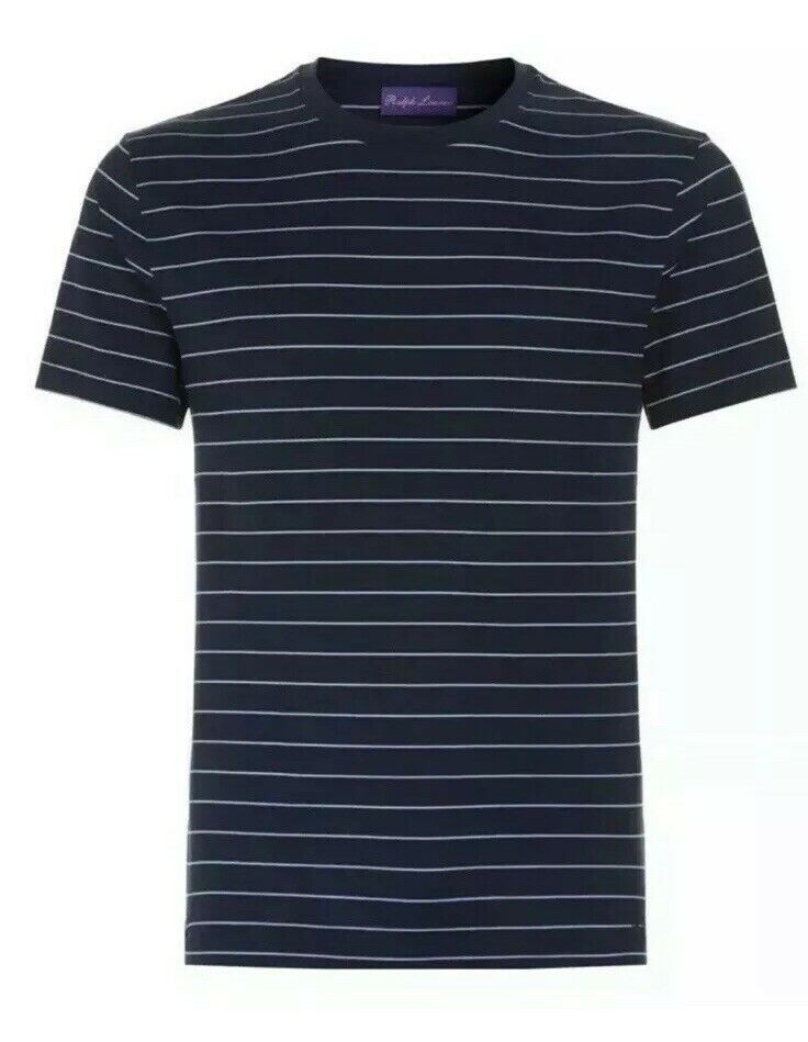 Ralph Lauren lila Label Navy Mulberry Peru Pima Cotton Striped T Shirt S M L