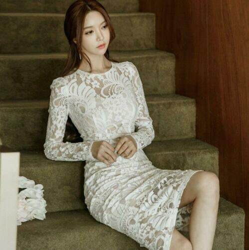 Womens Bodycon Dress Cocktail Wedding Long Sleeve Lace Hollow Slim Fit Dress