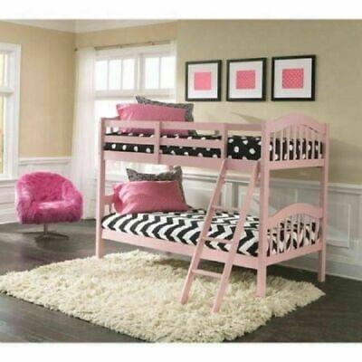 Bunk Bed Twin Beds Girls Kids Ladder Wood Pink Bedroom Furniture Child  Princess 56927086894 | eBay