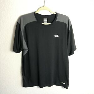 North-Face-Vaporwick-Shirt-Mens-Large-Black-Gray-Hiking-Gym-Stretch-Breathable