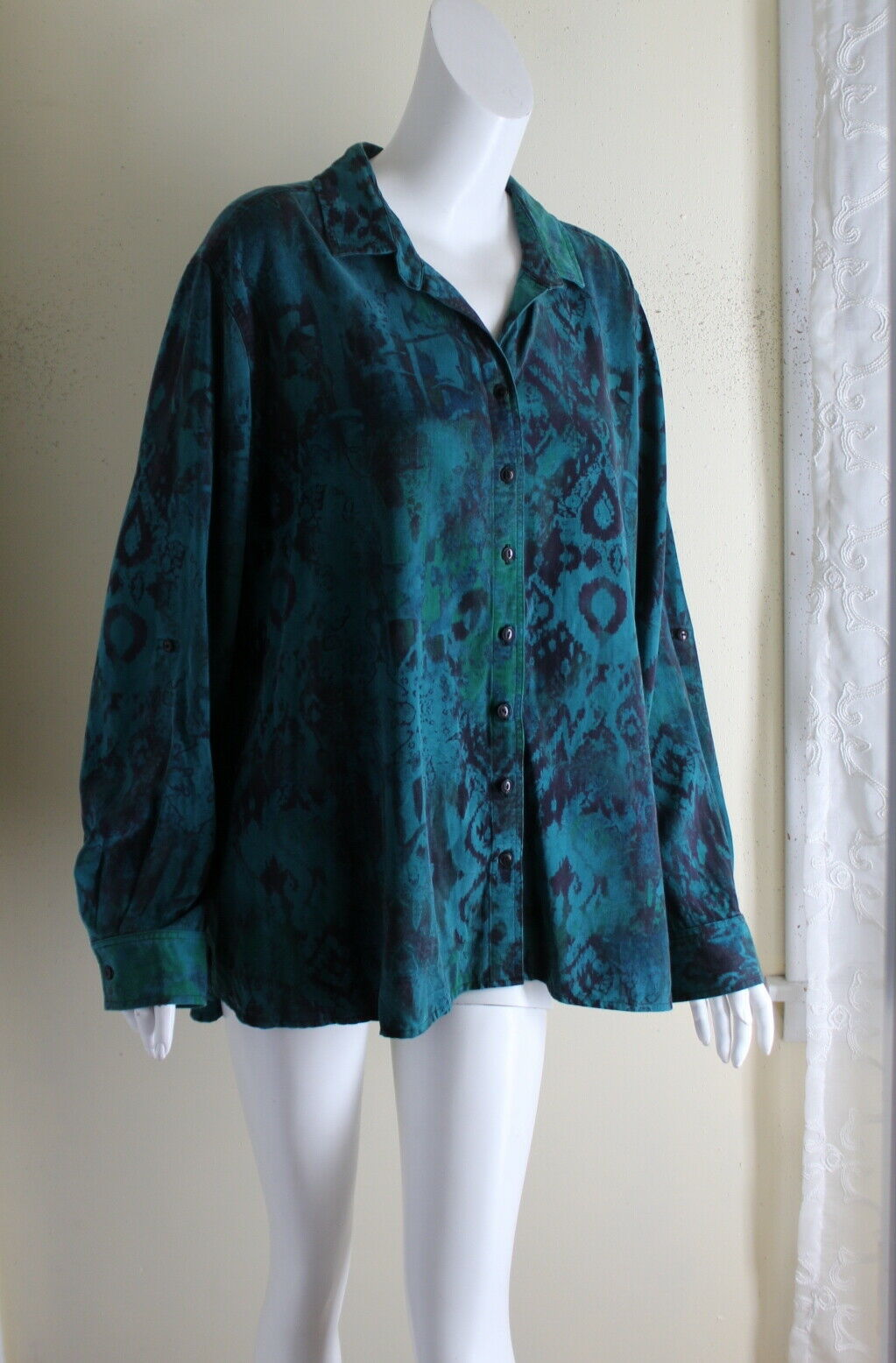 Tianello - Sz XL Funky Loving Blouse A-Line Art-to-Wear Printed Tunic Shirt Top