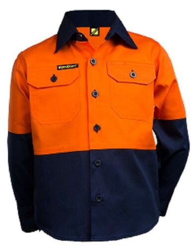 NEW Kids Hi Vis Work Shirt Long Sleeve Shirt OrangeNavy Size 0 2 4 6 8 10 12