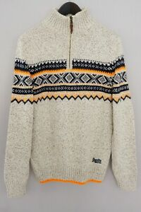 Men-Superdry-Jumper-Vintage-Nordic-Knit-Zip-Neck-Acrylic-Wool-XL-XMQ166