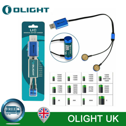 OLIGHT UC Universal Magnetic USB Charger for 18650//14500//26650//AA//AAA Battery UK