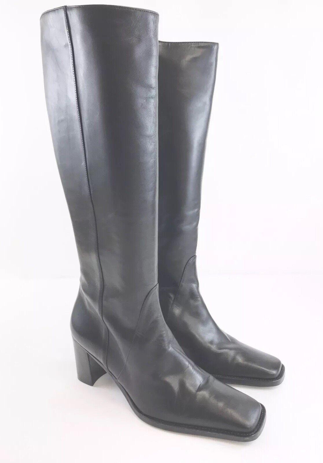Ladies Black Leather LUISA MESQUIDA Mid Calf  Zip Up Winter Heels Boot UK6 Eu39
