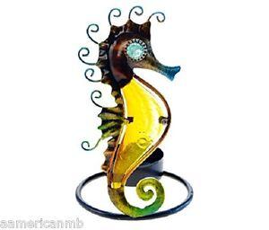 "SEA HORSE Metal Tealight Candle Holder Tea Light 5 1/4"" x 2 1/4"" Ocean Life"