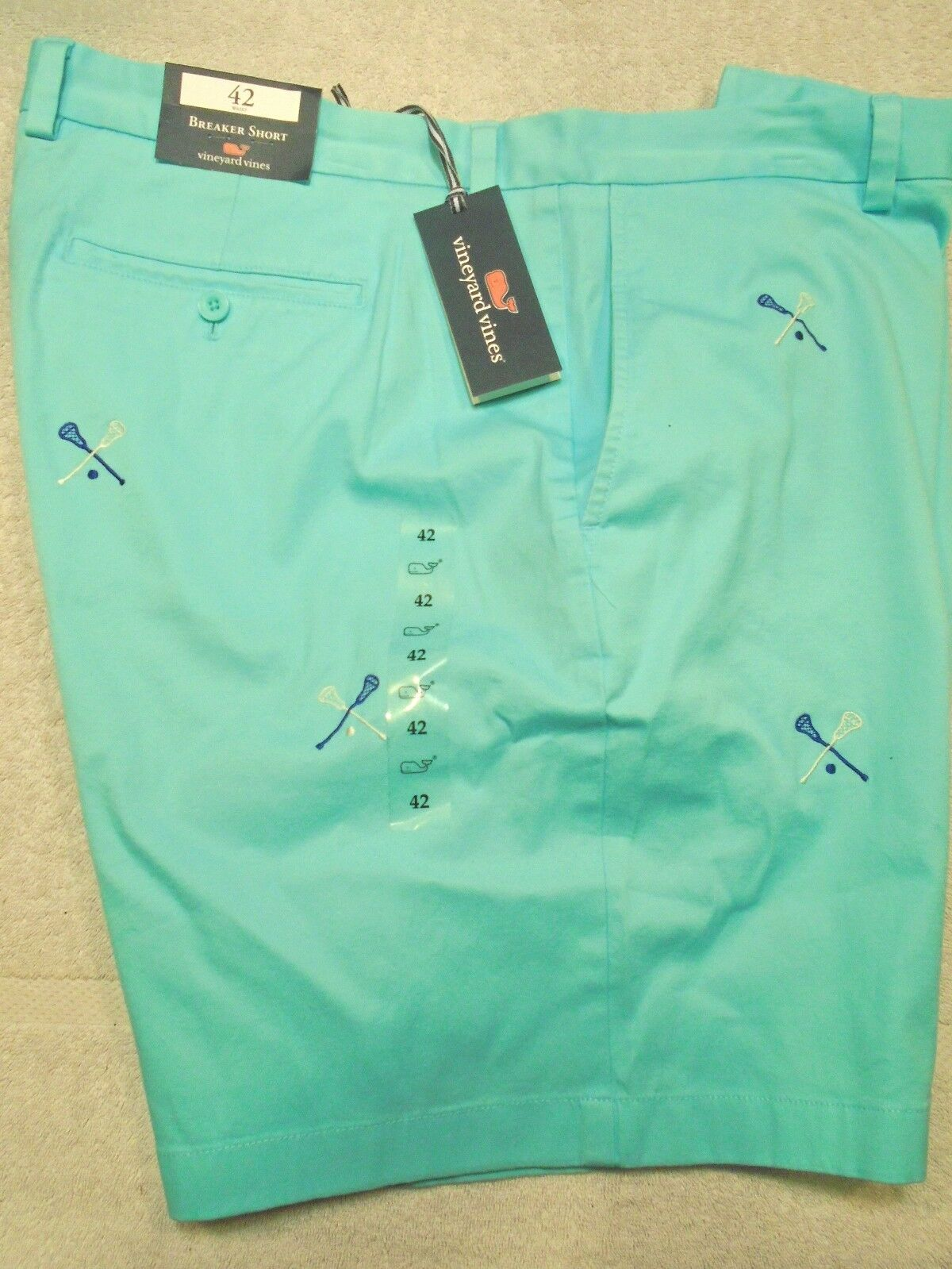 Vineyard vines Embroidered Lacrosse Breaker Stretch Cotton Shorts NWT 42