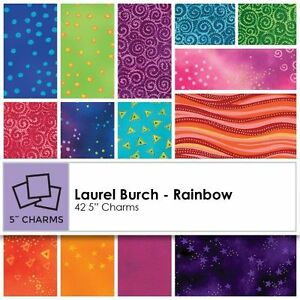 "Clothworks Fabric 10/"" Layer Cake Squares Laurel Burch Sunrise 42"