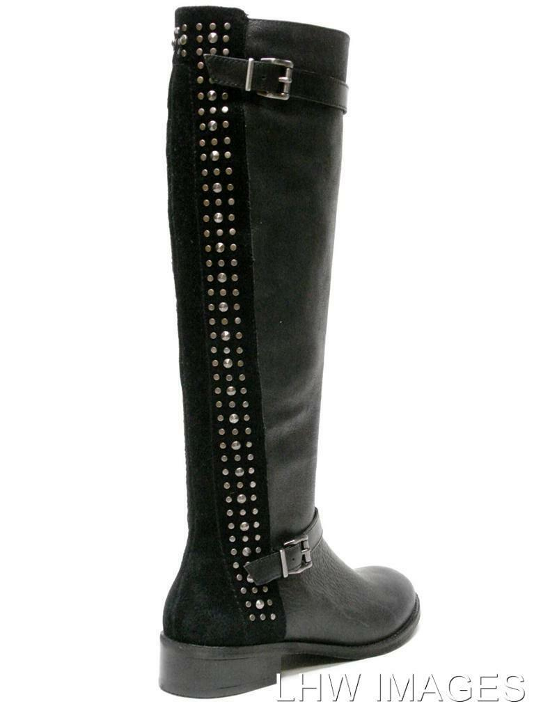 NIB JESSICA SIMPSON ELLISTER STUDDED LEATHER LEATHER LEATHER EQUESTRIAN RIDING BOOTS BLACK 6M 5e5920