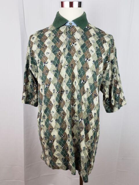 BUGLE BOY VTG Mens Size XXL Brown Green Tan Argyle Short Sleeve Polo Golf Shirt
