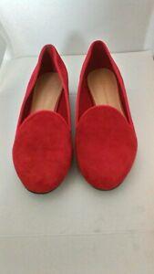 M\u0026S Ladies Red Suede Leather Slip On