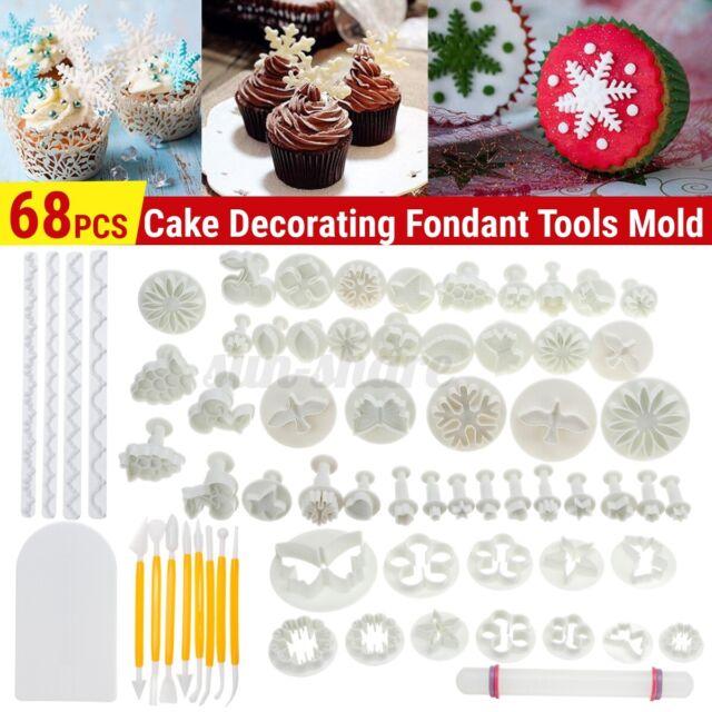 68pcs Fondant Sugarcraft Cake Decorator Icing Plunger Cutters Tools Mold White