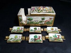 Vintage-Italy-Capodimonte-Pottery-Cigarette-Joint-Holder-Box-With-6-Ashtrays