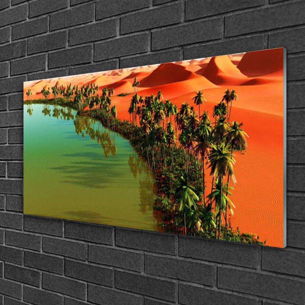 Image sur verre Tableau Impression 100x50 Paysage Baie Désert Arbres