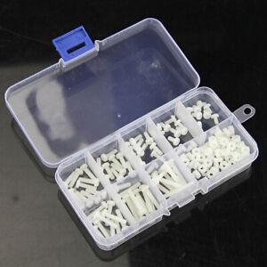 New-160Pcs-White-M3-Metric-8-Sizes-Assortment-Standoff-Nylon-Screws-Bolt-Nut-Kit